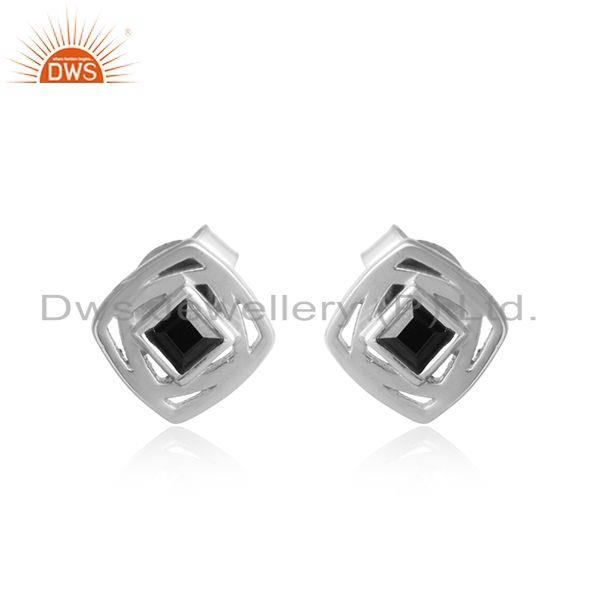 Natural black onyx gemstone sterling silver designer stud earring