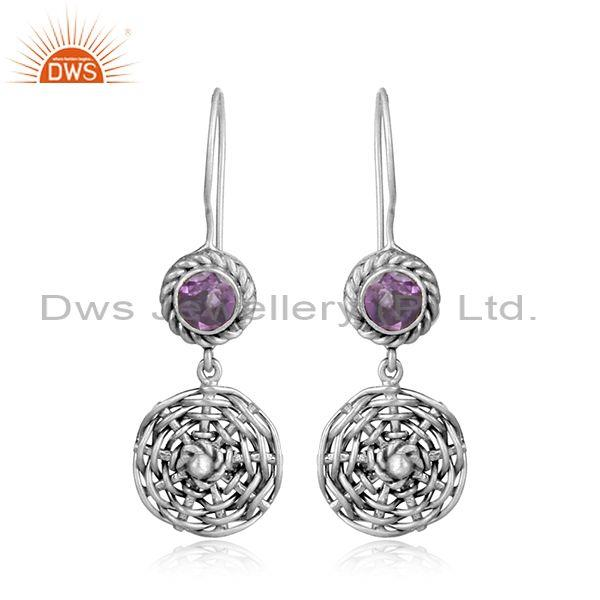 Amethyst set woven oxidized silver hook style drop earrings