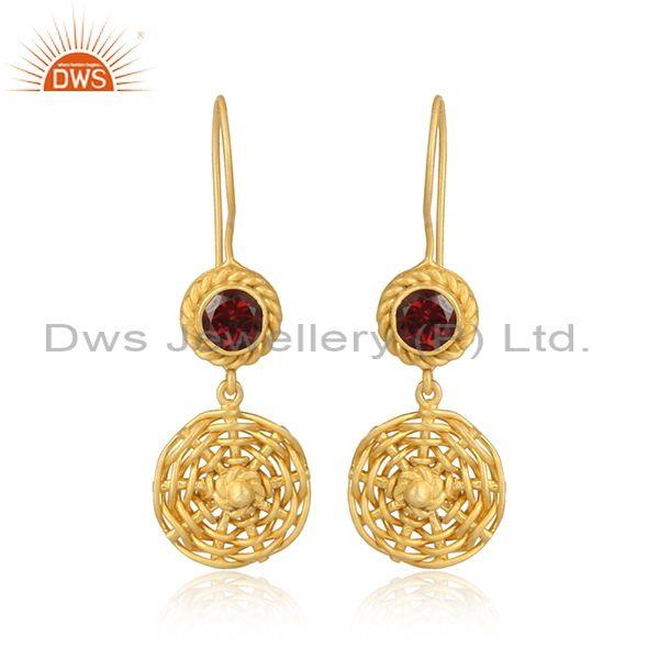 Garnet set woven gold on 925 silver hook style drop earrings