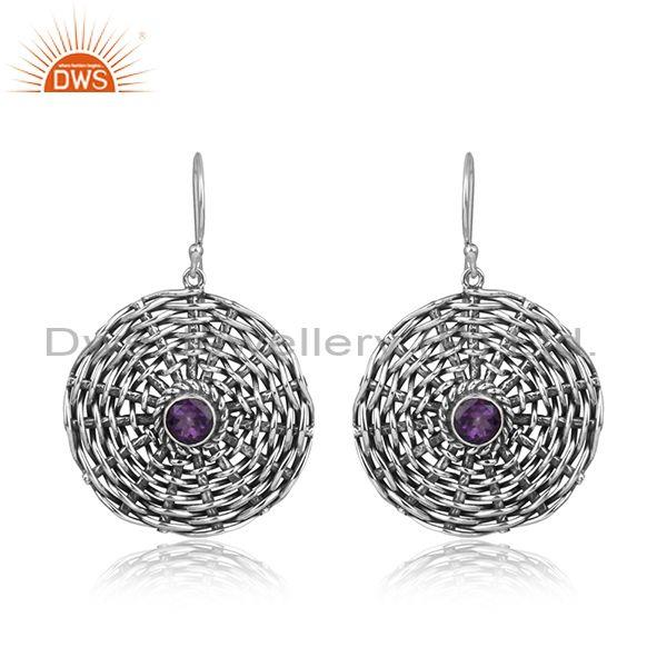 Amethyst set round woven oxidized silver casual earrings