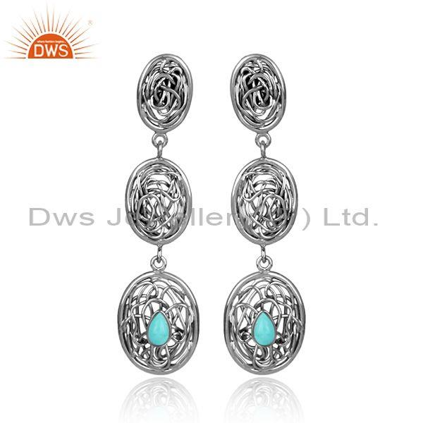 Arizona turquoise oxidized 925 silver entwined drop earrings