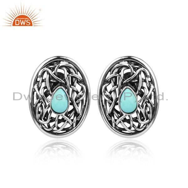Arizona Turquoise Oxidized 925 Silver Entwined Stud Earrings