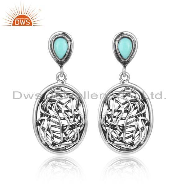 Tear drop arizona turquoise oxidized silver entwined earring