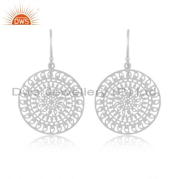 Handmade fine 925 sterling silver round textured earrings