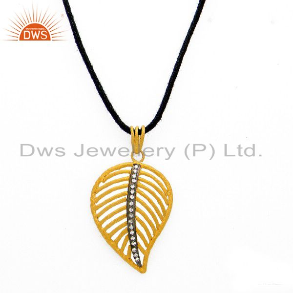 22K Yellow Gold Plated Sterling Silver CZ Leaf Designer Pendant Cord Necklace