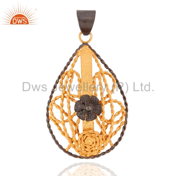 Custom Handmade 18k Yellow Gold GP 925 Sterling Silver Twisted Wire Wrap Pendant