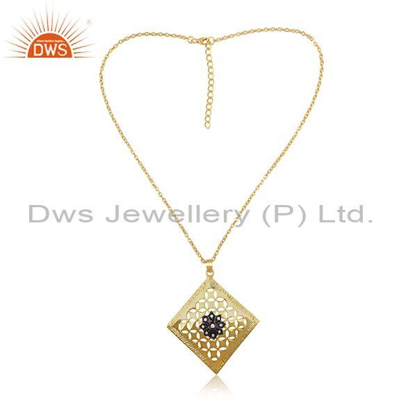 CZ Set Gold, Black On Silver Square Shape Pendant And Chain