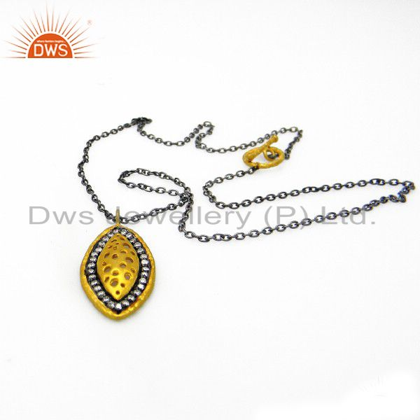 Oxidized And Gold Plated Sterling Silver Cubic Zirconia Pendant With Chain