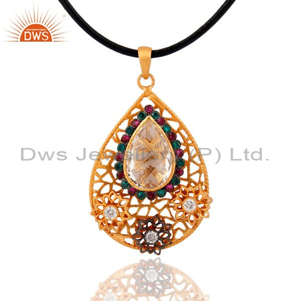 18k Gold Plated 925 Sterling Silver Crystal Quartz Multi Zircon Pendant Jewelry