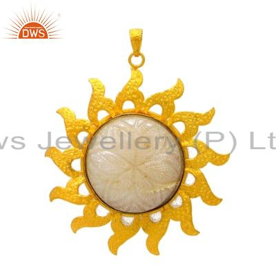 24K Yellow Gold Plated Sterling Silver Crystal Quartz Carving Sun Pendant