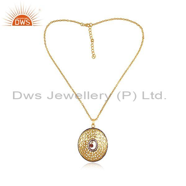 CZ, Pink Tourmaline Gold, Black On Silver Pendant And Chain
