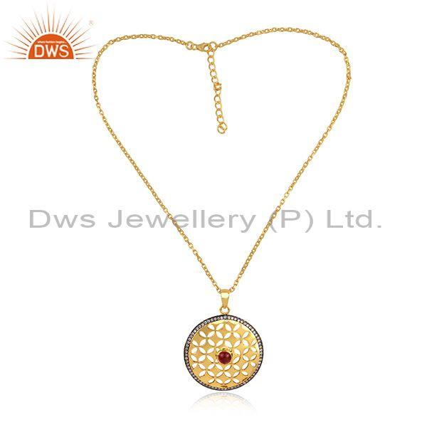 CZ, Pink Tourmaline Round Gold On Silver Pendant And Chain