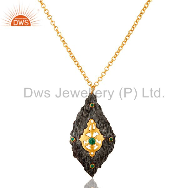 Oxidized and 18k gold plated sterling silver emerald gemstone pendant with chain