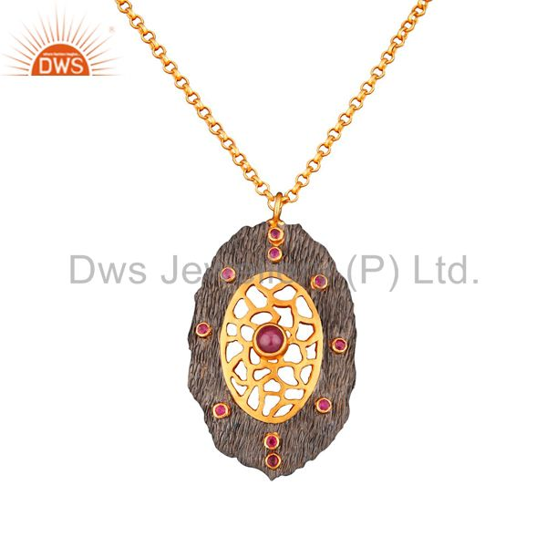 Bezel Set Ruby Pendant Ethnic 92.5% Sterling Silver Hand Crafted Women Fashion C