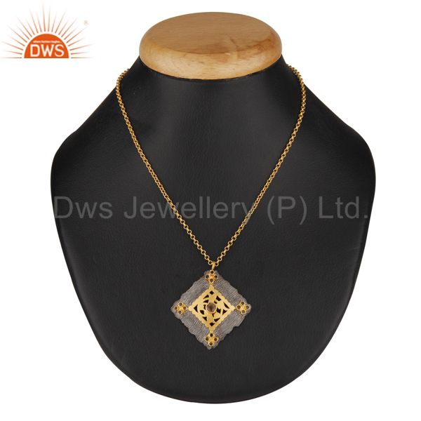 Natural Smoky Quartz 18K Gold Plated 925 Sterling Silver Chain Pendant Jewelry