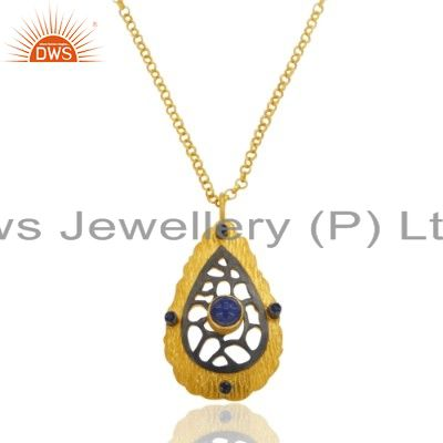 Fine Handcrafted Jewelry 18k Gold Blue Sapphire Natural Sterling Silver Pendant