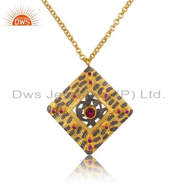 Handmade 925 sterling silver gold plated zircon pendant manufacturer india