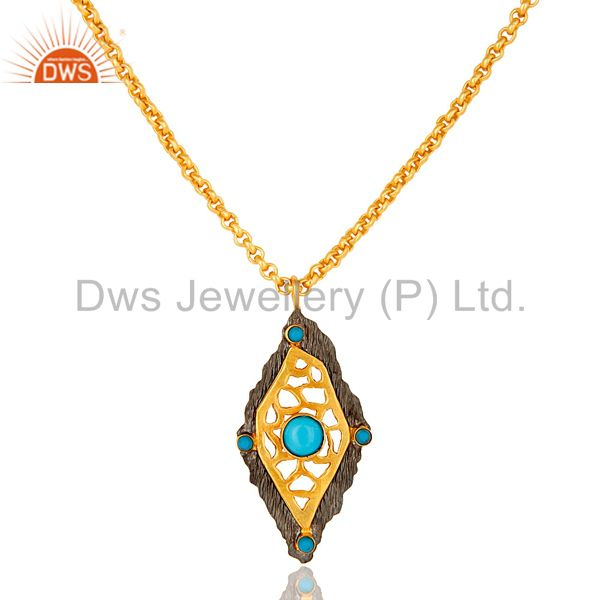 18K Gold Plated Turquoise Metrix Art deco Pendant Necklace with Chain
