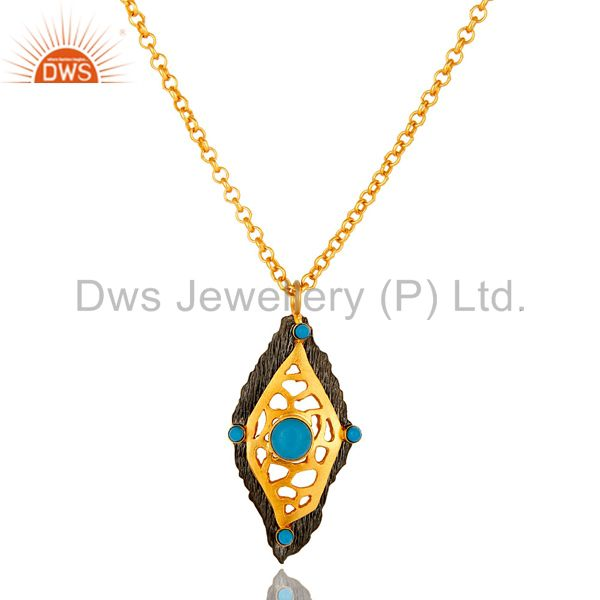 22k yellow gold plated sterling silver turquoise gemstone pendant with chain