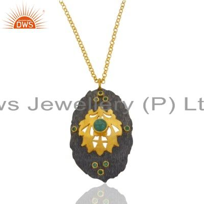 Natural Gemstone Green Emerald 1.33cts 18k Yellow Gold GP Designer Pendant Jewel