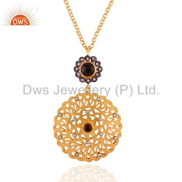 "Smoky Quartz 24k Gold Plated Pendant 925 Silver Zircon Circle 16"" Chain Jewelry"