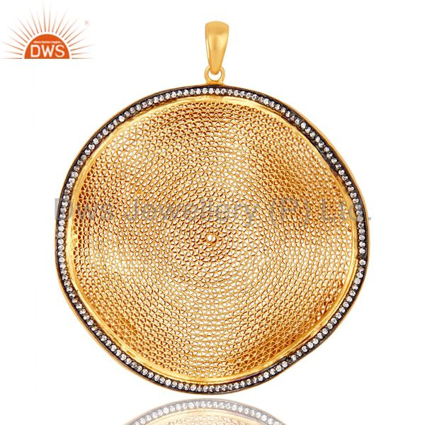 18K Yellow Gold Plated Sterling Silver Handmade Meshwork Pendant Art Deco Design