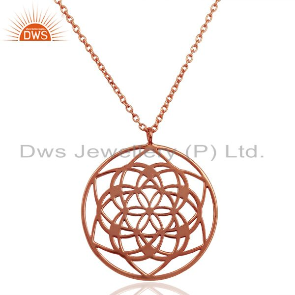 25 MM flower Pattern Rose Gold Plated 92.5 Sterling Silver Wholesale Pendent