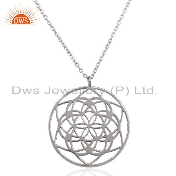 Filigree Design 925 Sterling Fine Silver Chain Pendant Manufacturer in Jaipur