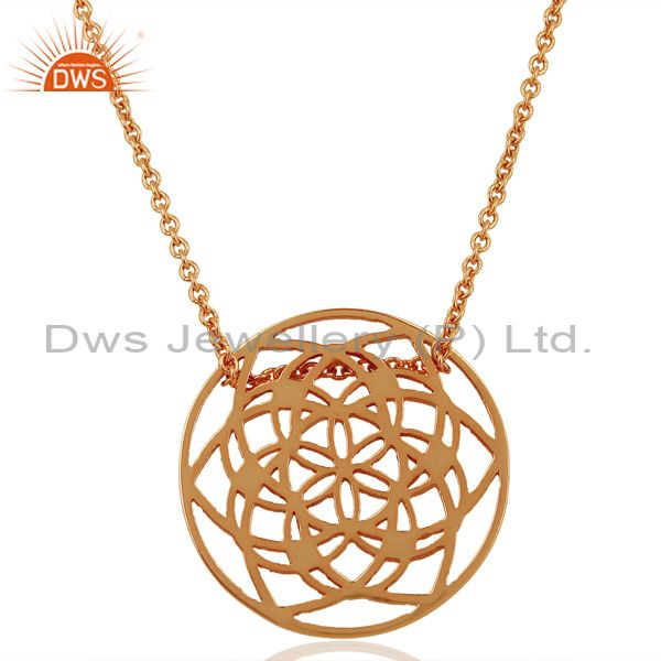 15 MM flower Pattern Rose Gold Plated 92.5 Sterling Silver Wholesale Pendent