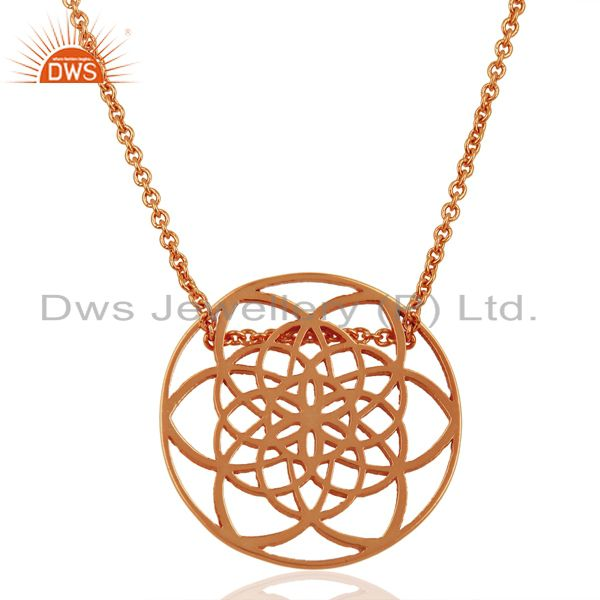 Flower Of Life 25MM Sterling Silver White Rhodium Plated Wholesale Pendent