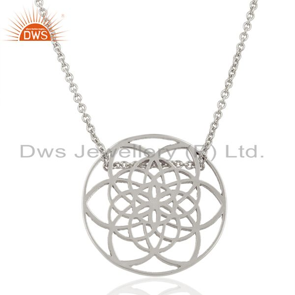 Flower of life sterling silver 25mm white rhodium plated wholesale pendent