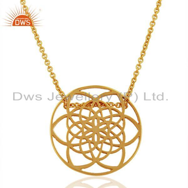 Flower Of Life 25MM Sterling Silver Gold Plated Wholesale Pendent