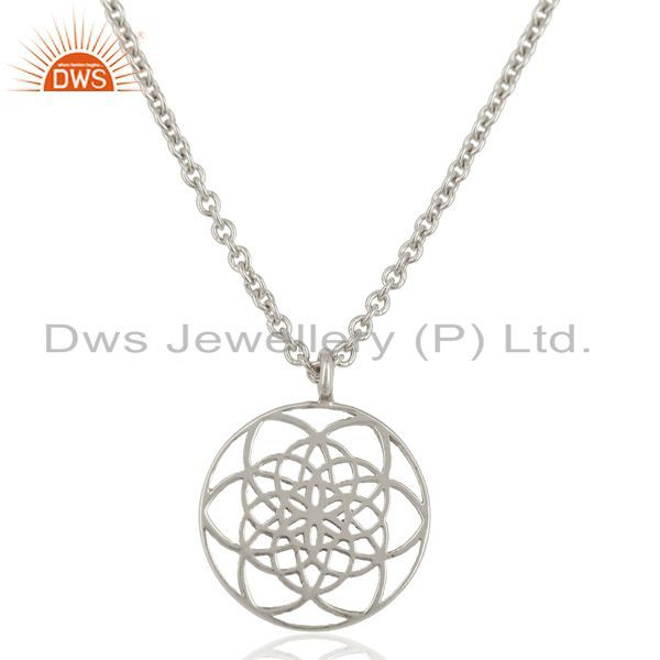 Flower Of Life Sterling Silver White Rhodium Plated Wholesale Pendent