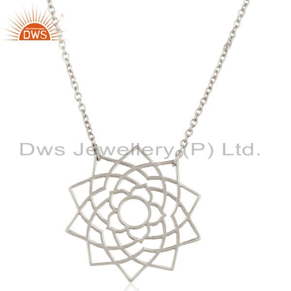 Chakra Spiritiual Sahasra Pendent Sterling Silver White Rhodium Plated Pendent