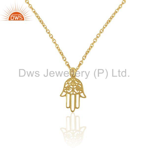 14k Gold Plated Lucky Hamsa Hand Charm 925 Silver Chain Pendant Wholesale