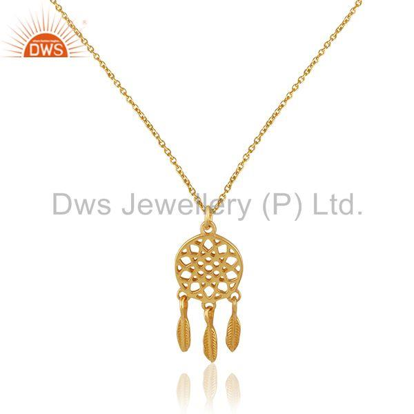 Handcrafted 925 Silver Gold Plated Indian Traditional Style Pendant Jewelry
