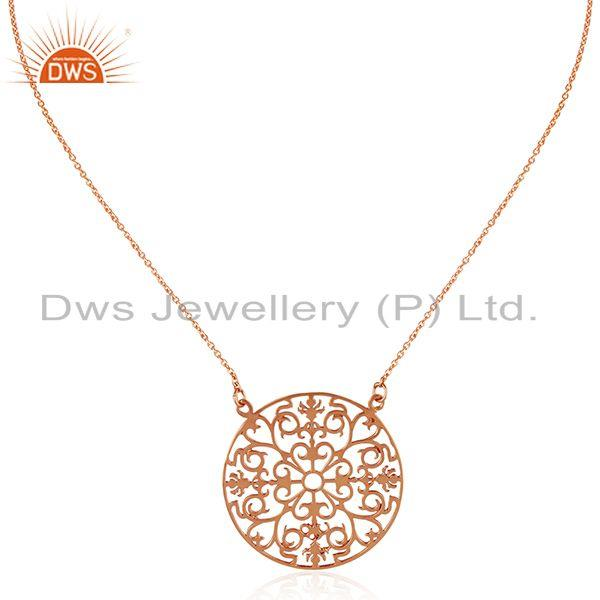 Rose gold plated designer 925 sterling silver chain pendant wholesale