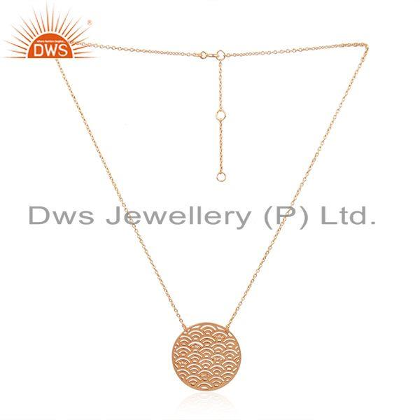 Rose gold plated 925 silver white zircon chain pendant wholesaler