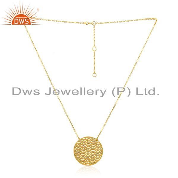 White Zircon Gold Plated Sterling  Silver Designr Chain Pendant