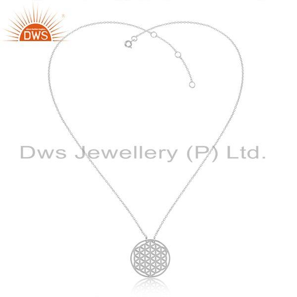 White Rhodium Plated Plain Silver Filigree Design Chain Pendant