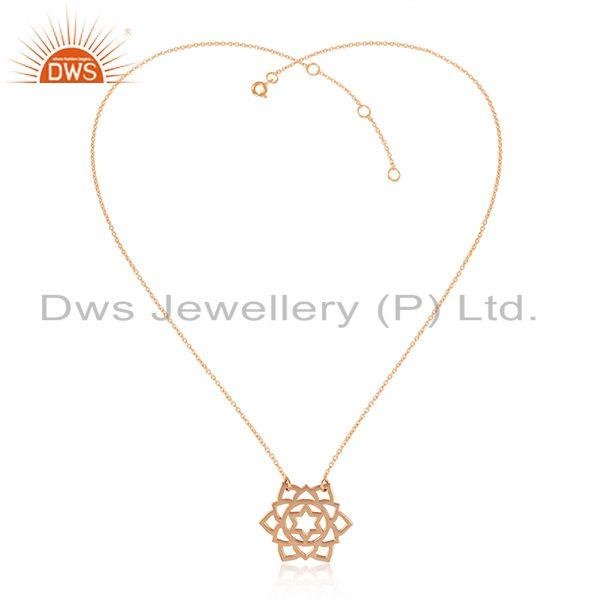 Anahata Chakra Design Rose Gold Plated 92.5 Silver Chain Pendant