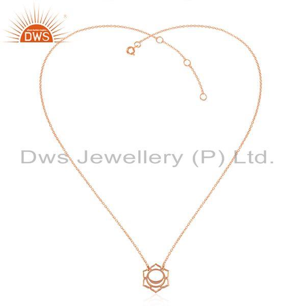 Svadisthana Chakra Design Rose Gold Plated Plain Silver Pendant