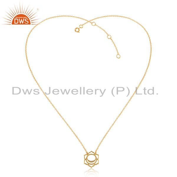 Indian Gold Plated 925 Silver Svadisthana Chakra Chain Pendant