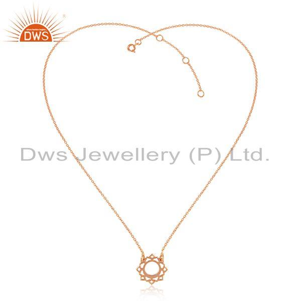 Rose gold plated designer vishuddha chakra silver chain pendants