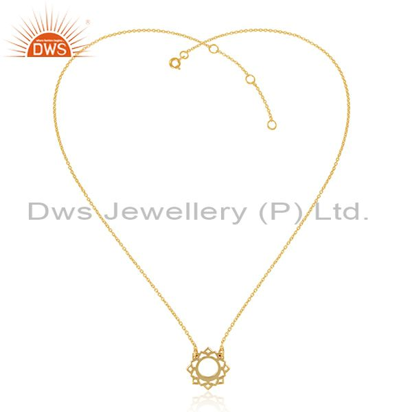 Vishuddha chakra gold plated womens silver chain pendant jewelry