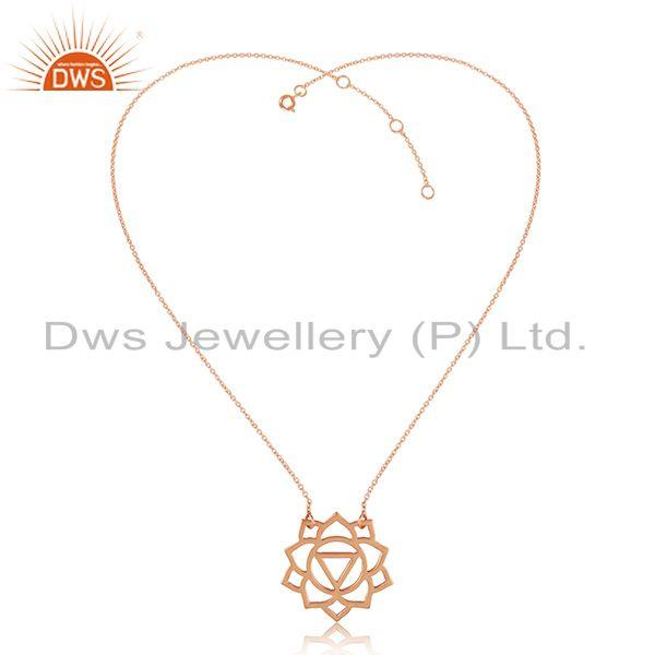 Manipura Chakra Rose Gold Plated 925 Silver Womens Chain Pendant