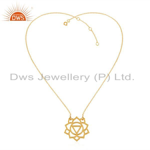 Yellow Gold Plated Manipura Chakra Design Silver Chain Pendant