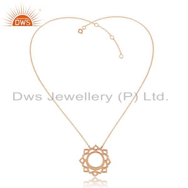 Vishuddha Chakra Design Rose Gold Plated 925 Silver Chain Pendant