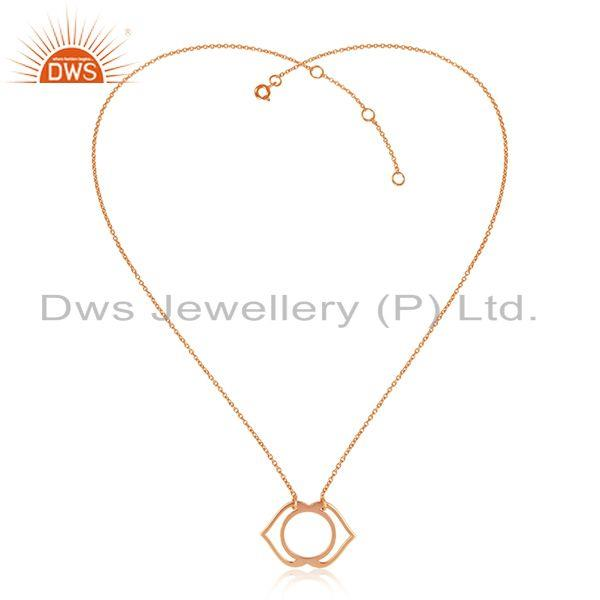Indian Rose Gold Plated Plain Silver Ajna Chakra Design Pendant