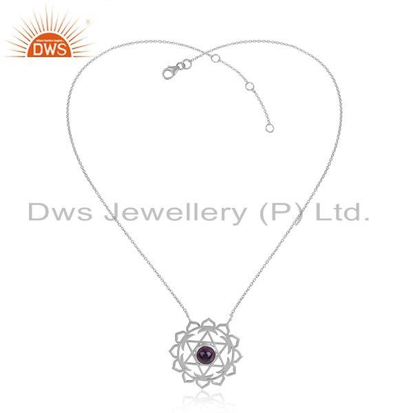 Amethyst gemstone designer 925 sterling silver chakra necklace